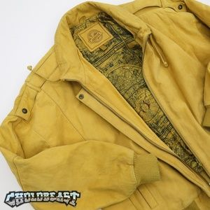VTG 90s Honey Mustard Suede Leather Flight Bomber